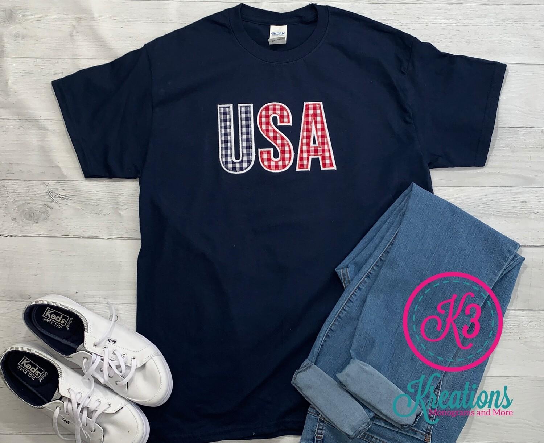 Gingham USA Short Sleeve T-shirt (Choice of Shirt Brand)