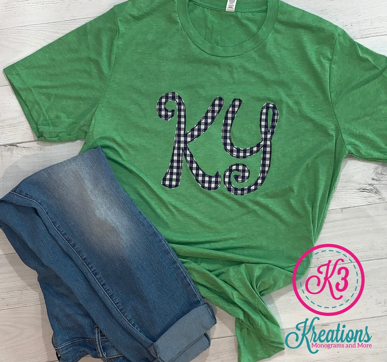 KY Scribble - Navy Gingham Triblend Short Sleeve T-shirt