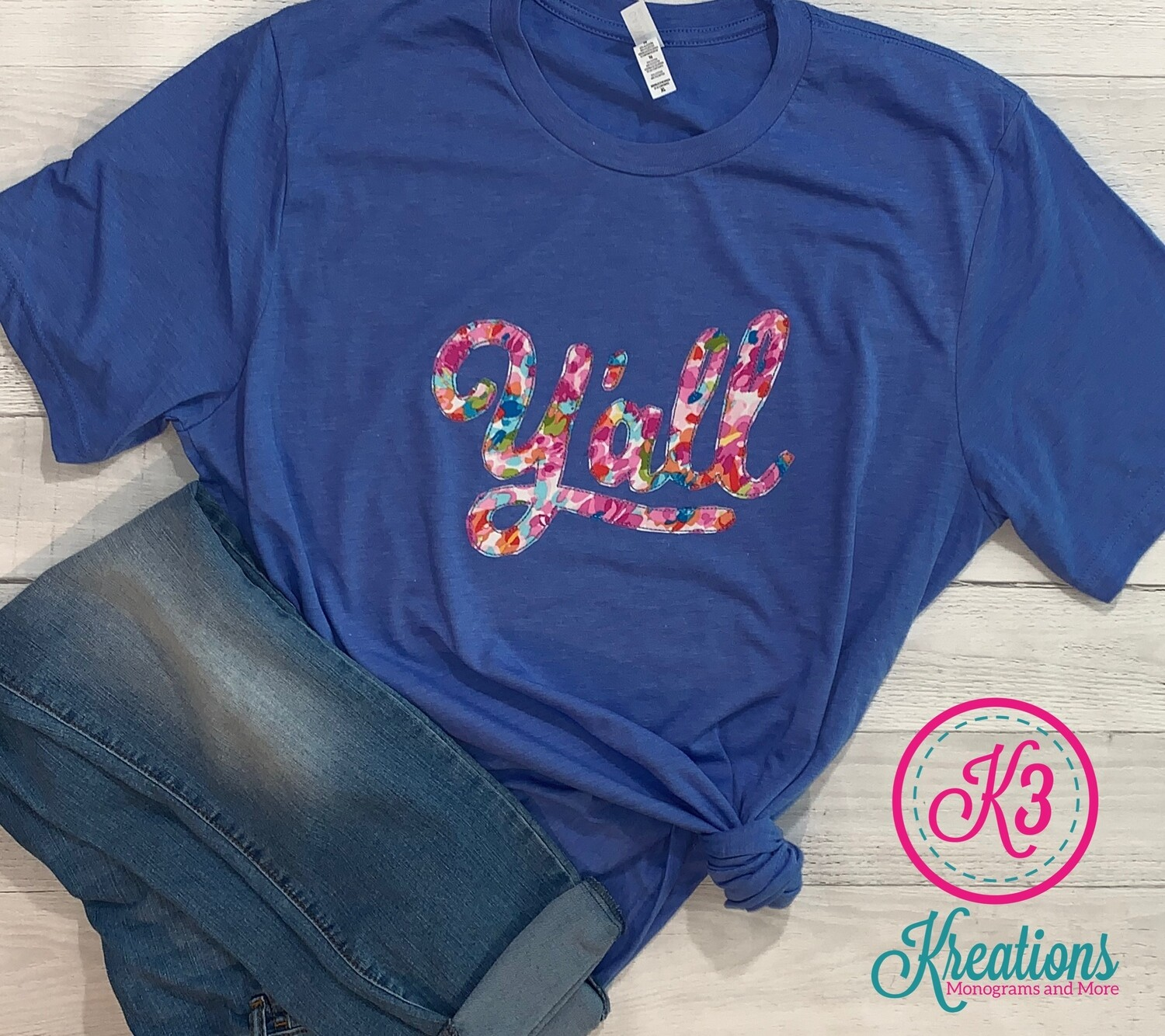 Y'all Tri-Blend Short Sleeve T-shirt - Pink Multi