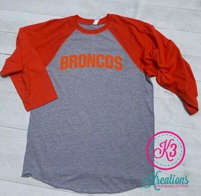 Broncos Baseball T-shirt (Unisex and Ladies Sizing)