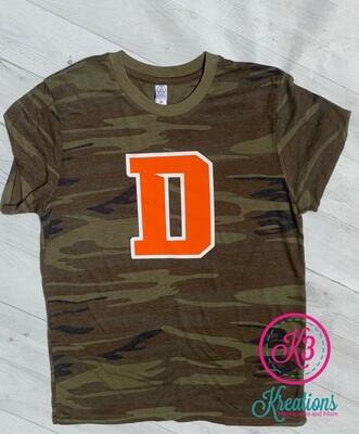Douglass D Camo T-shirt (Ladies and Unisex)