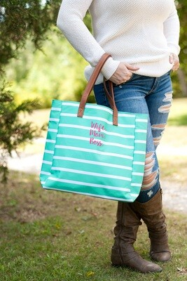 Wife.Mom.Boss Mint Stripe Tote