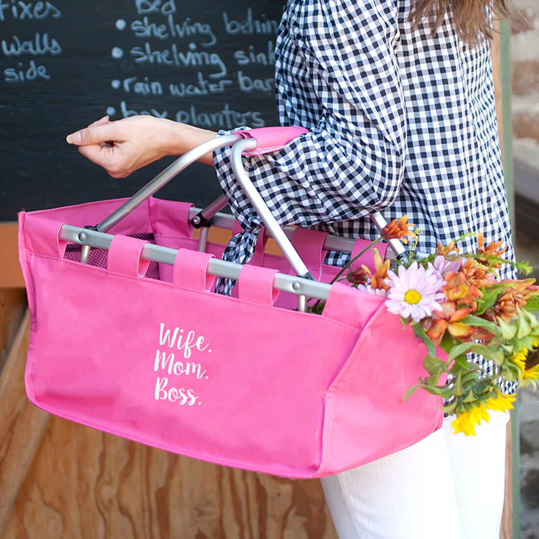 Wife.Mom.Boss Hot Pink Market Tote
