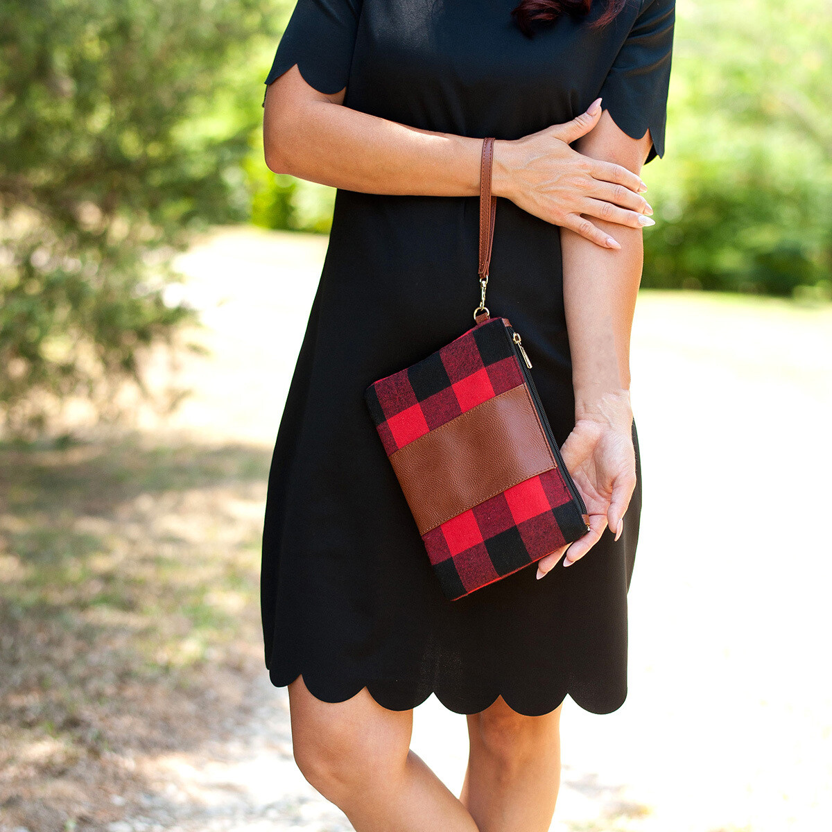 Red Buffalo Check Wristlet