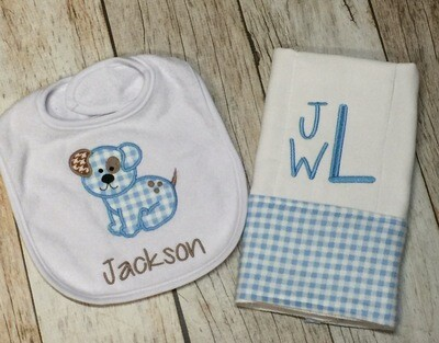 Blue Gingham Precious Puppy Bib & Burp Cloth
