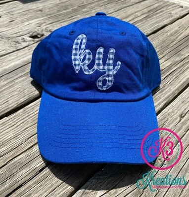 Royal Blue Hat with Gingham KY Design