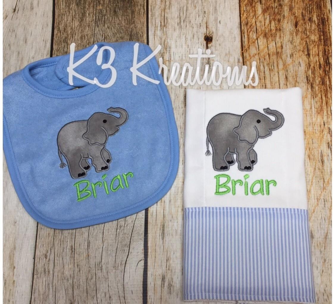 Elephant Bib & Burp Cloth