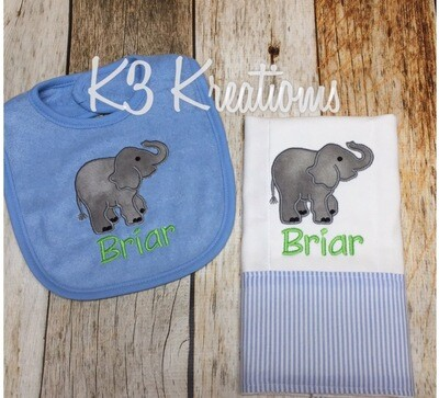 Elephant Bib & Burp Cloth