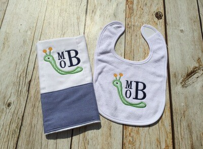 Early Bird Catches the Worm Bib & Burp Cloth