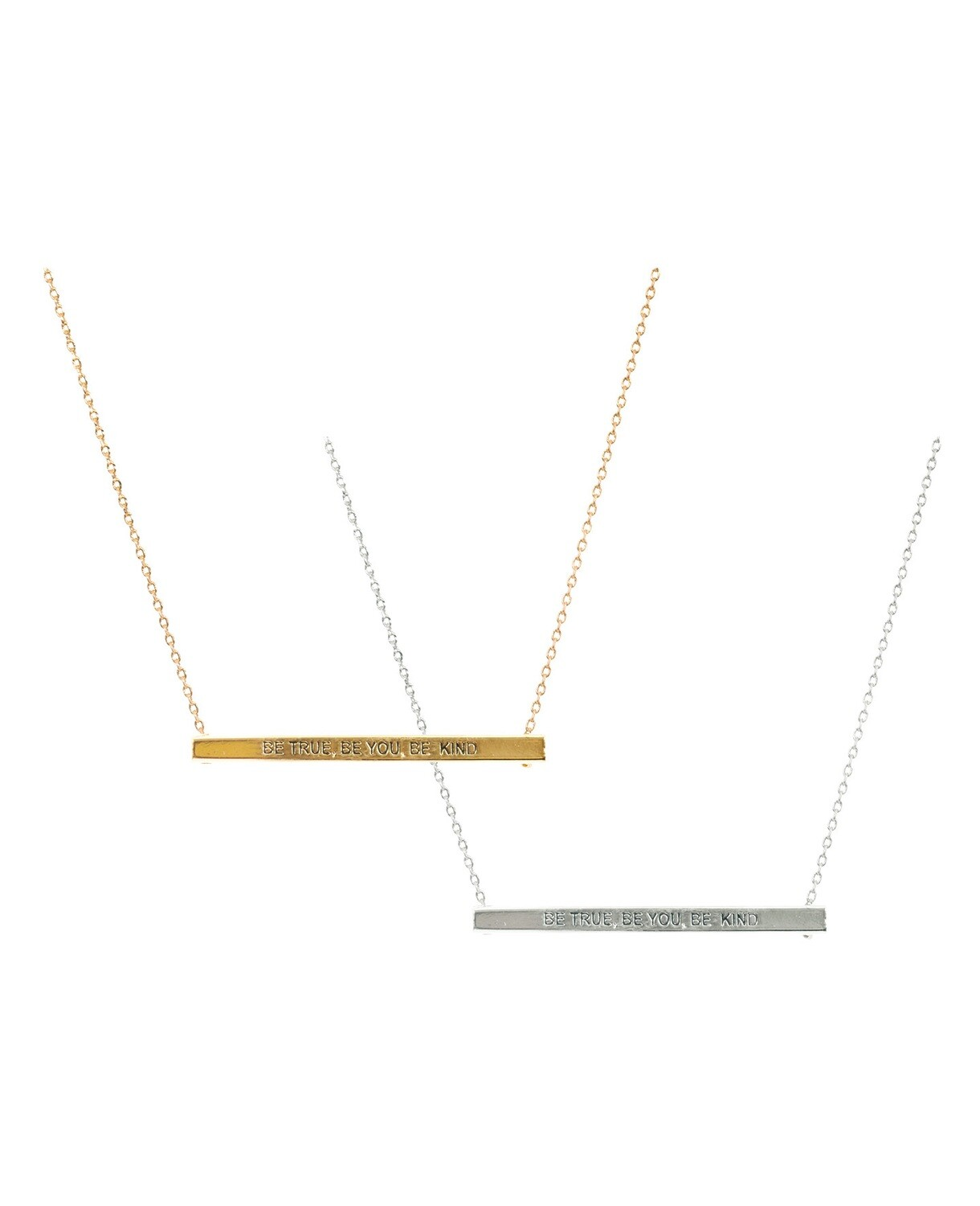 Be True, Be You, Be Kind Bar Necklace