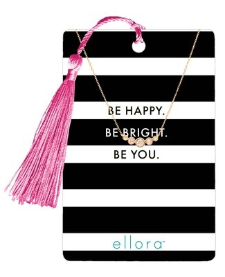 Graduated Five CZ Necklace - Be Happy, Be Bright, Be You