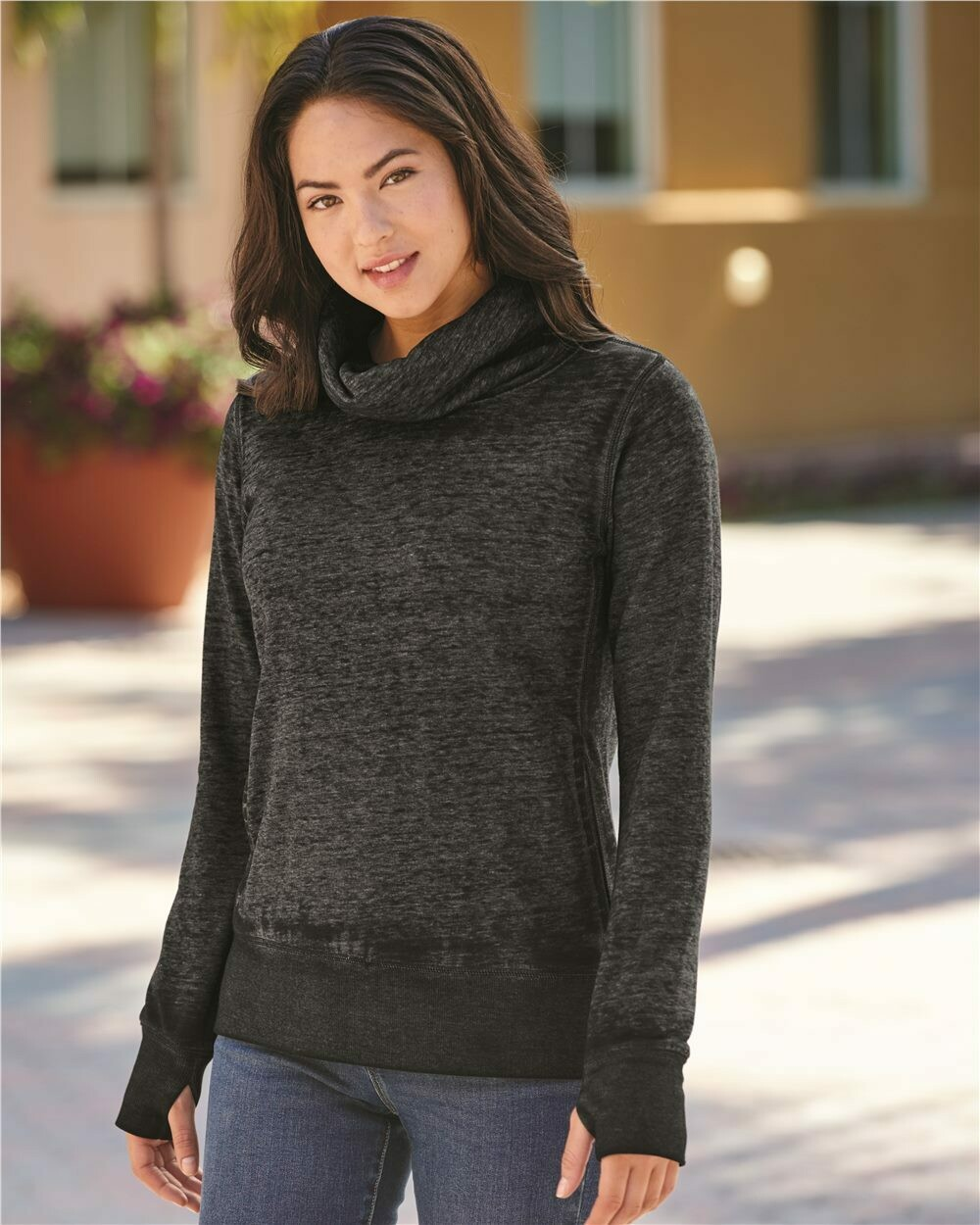 Ladies Zen Fleece Cowl Neck Sweatshirt