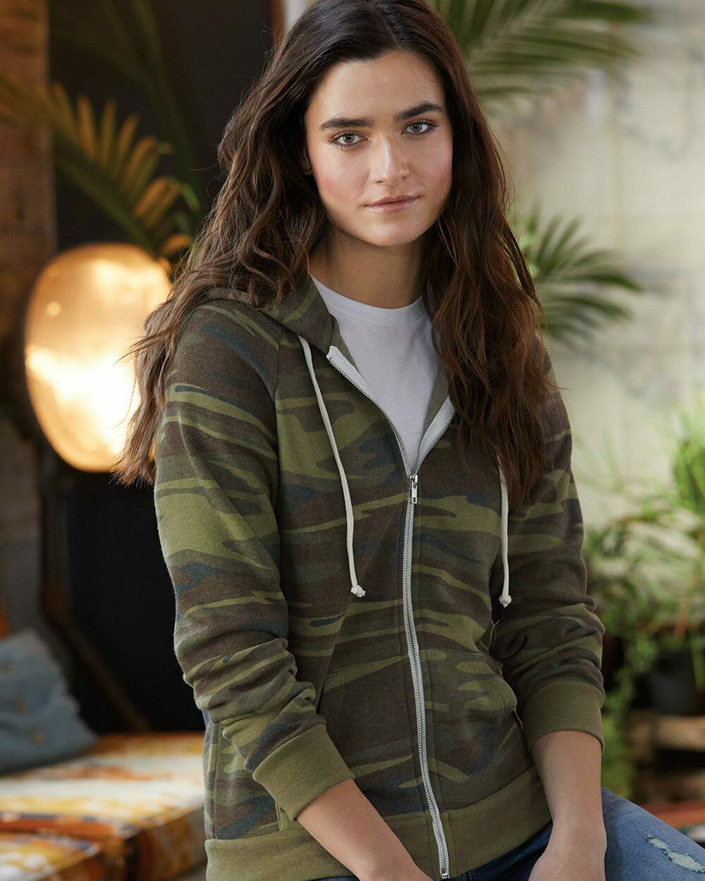 Ladies Printed Adrian Eco-Fleece Full-Zip Hooded Sweatshirt