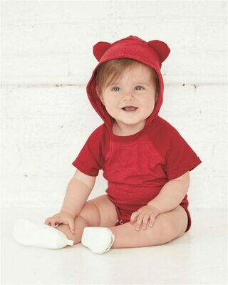 Fine Jersey Infant Short Sleeve Raglan Bodysuit with Hood & Ears