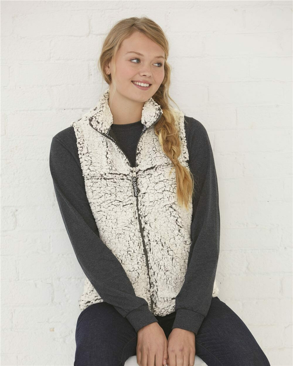 Ladies Frosty Grey Sherpa Full-Zip Vest