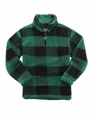 Unisex Plaid Sherpa Fleece Quarter-Zip Pullover