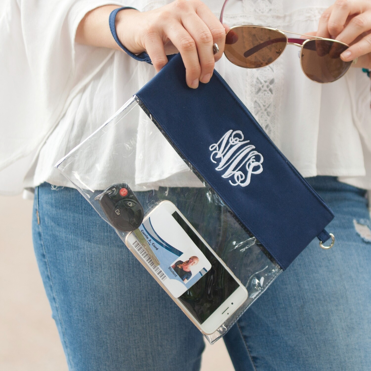 Navy Clear Zip Pouch