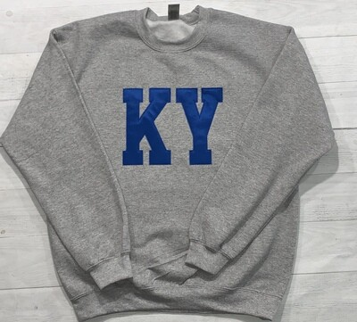 KY Applique Crewneck Sweatshirt (Choose shirt color and fabric)