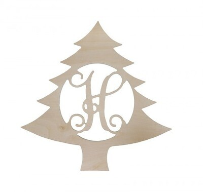Christmas Tree Wood Monogram