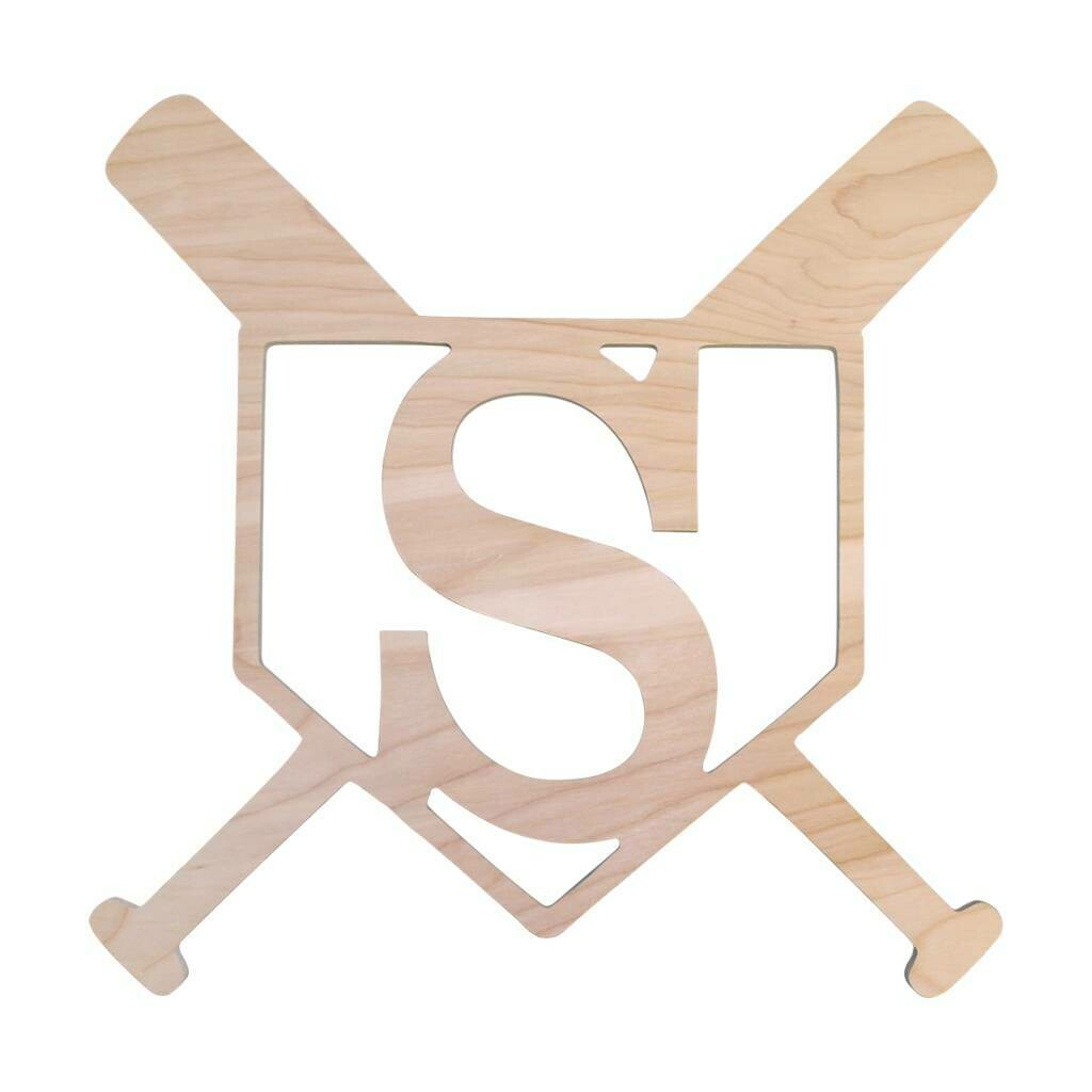 Home Plate Wood Monogram