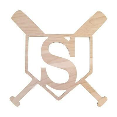 Home Plate Wood Monogram