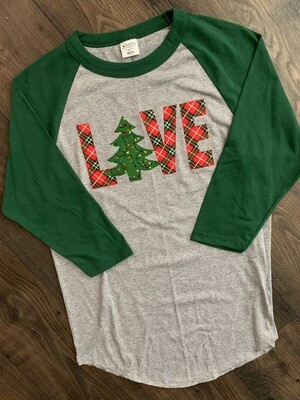 Adult Christmas Tree LOVE Raglan Baseball T-Shirt