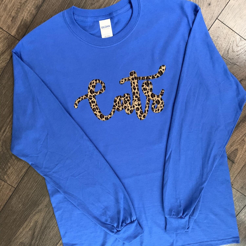 Youth Cats Leopard Print Script Long Sleeve T-Shirt