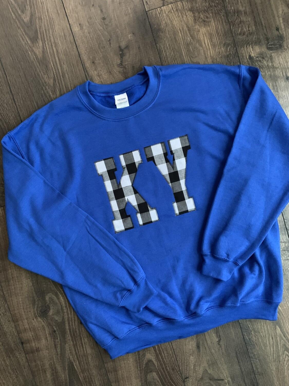 Youth KY Black Gingham Crewneck Sweatshirt