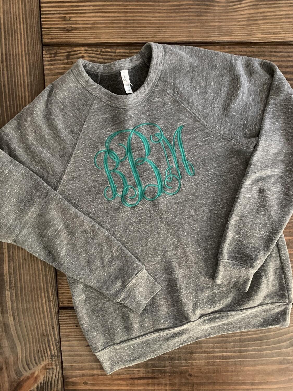 Sponge Fleece Raglan Sweatshirt with Front Chest Monogram