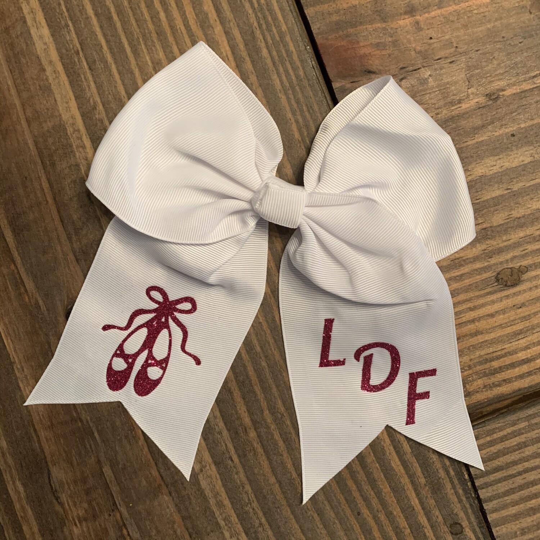LDF Ballet Slippers Hair Bow - White