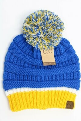 Blue & Gold CC Beanie Hat with Pom