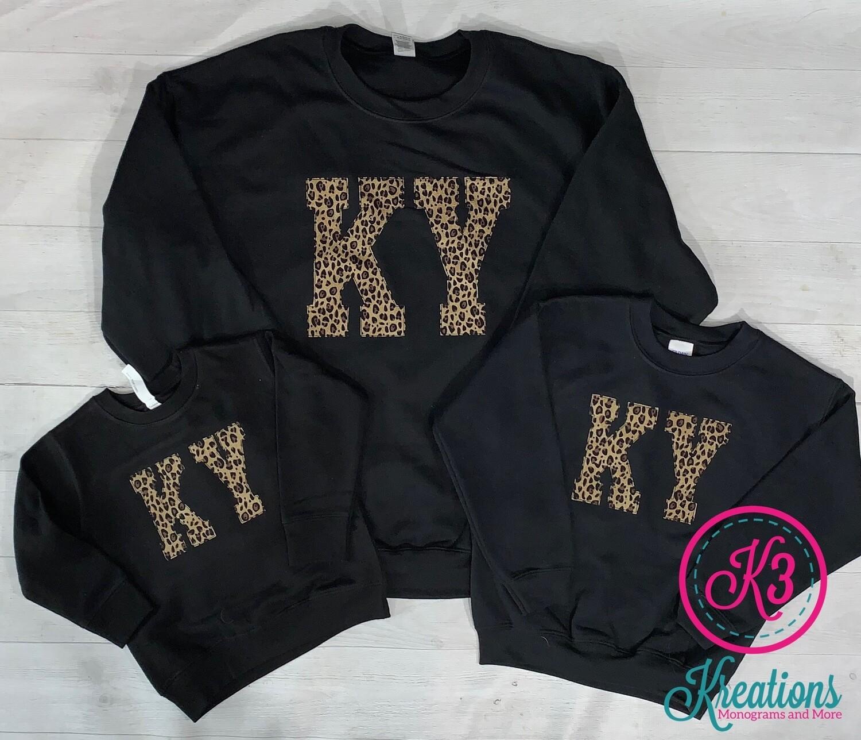 KY Leopard Black Crewneck Sweatshirt