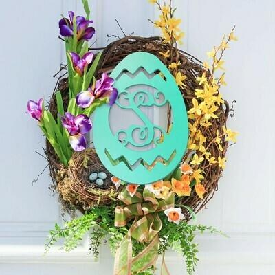 Easter Egg Wood Monogram