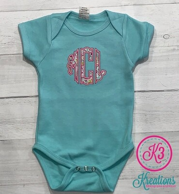 Teal Onesie with Paisley Monogram