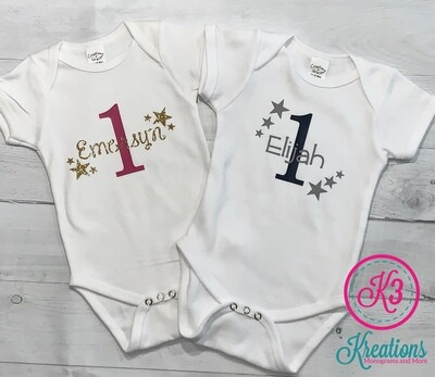 First Birthday White Onesie with Stars