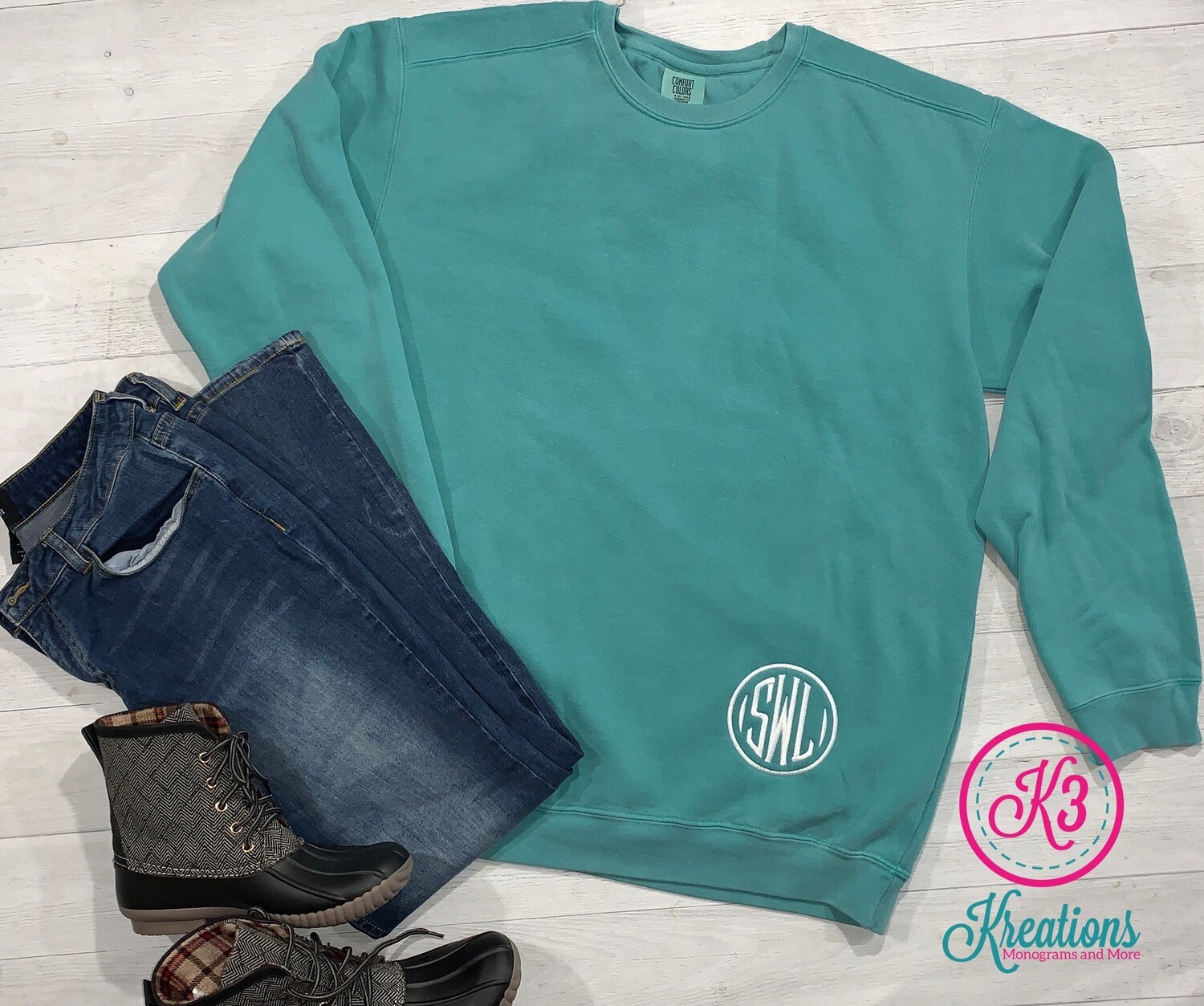 Left Hip or Left Chest Monogrammed Comfort Color Crewneck Sweatshirt