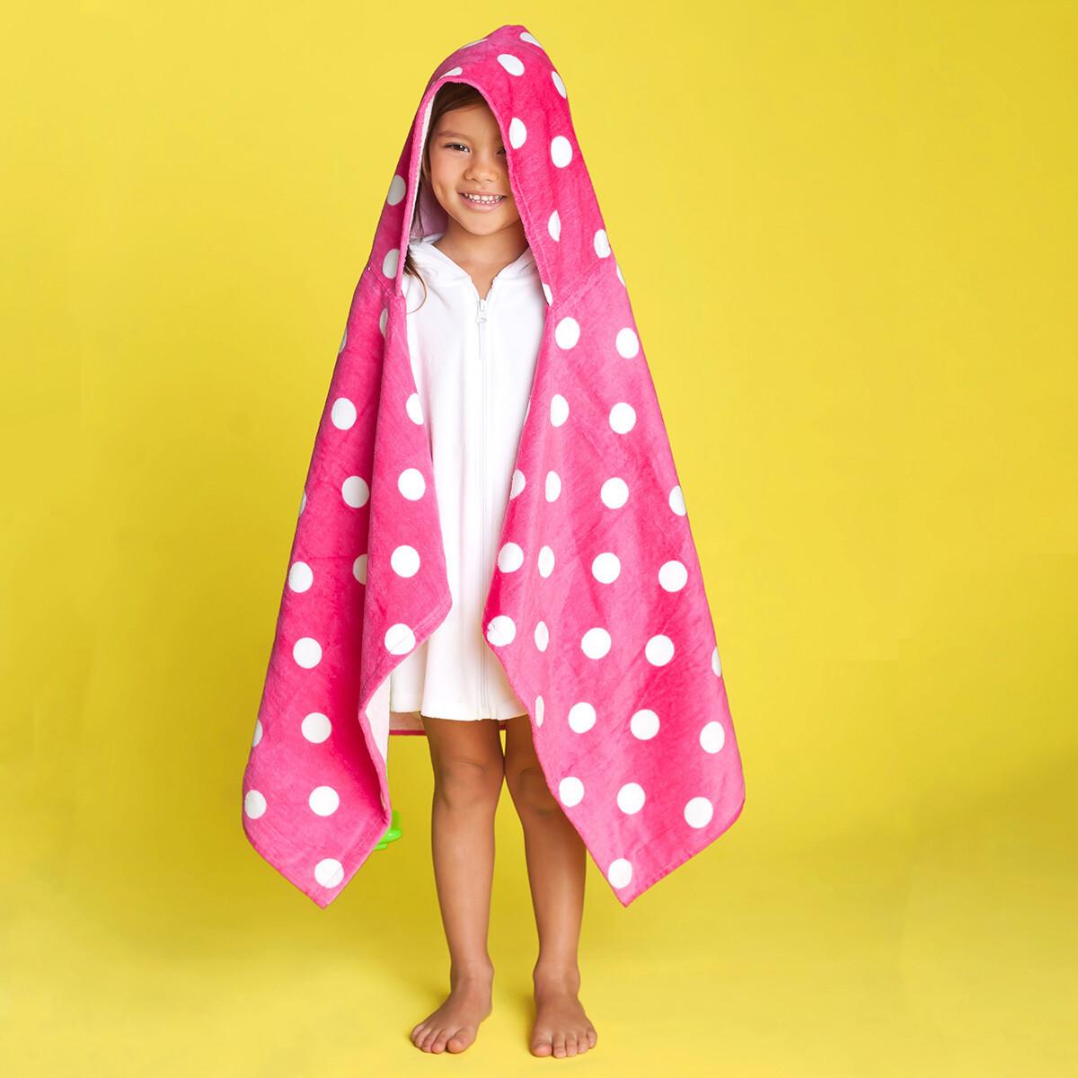 Hot Pink Dandy Dot Hooded Towel