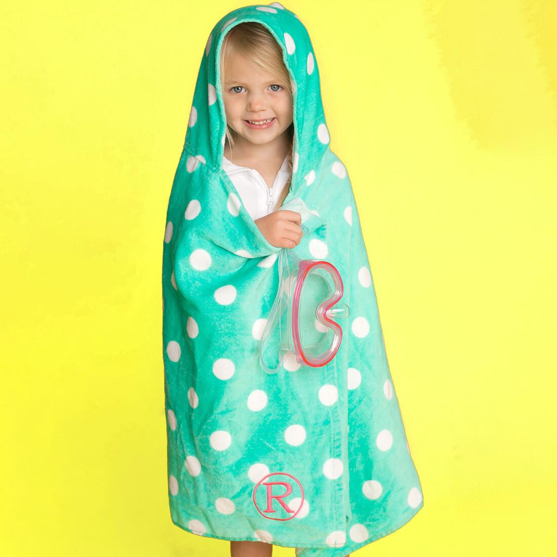 Mint Dandy Dot Hooded Towel