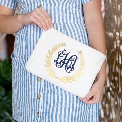 Gold Foil Wreath Zip Pouch