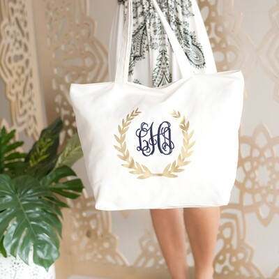 Gold Foil Wreath Tote