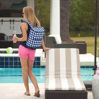Navy Check Backpack Cooler