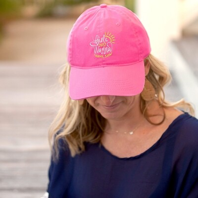 Girls Just Wanna Have Sun Hot Pink Cap