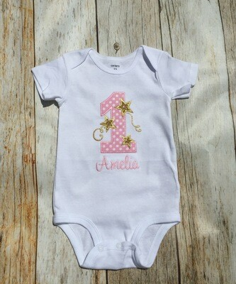 First Birthday White Onesie with Gold Stars