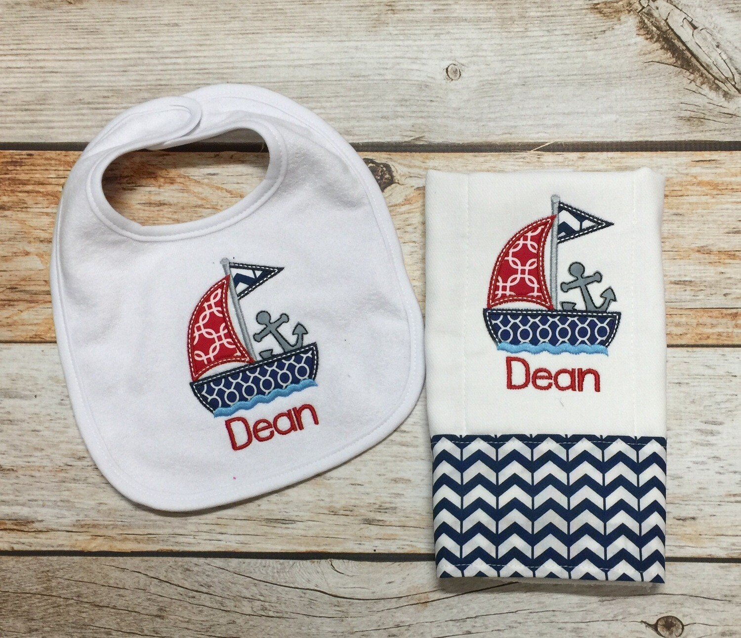 Sailboat Bib & Burp Cloth