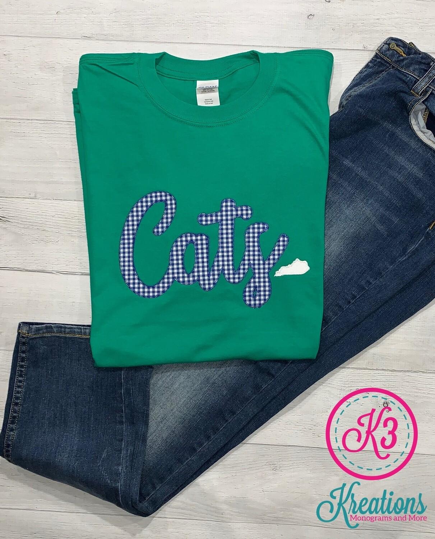 Cats Gingham Script Short Sleeve T-Shirt
