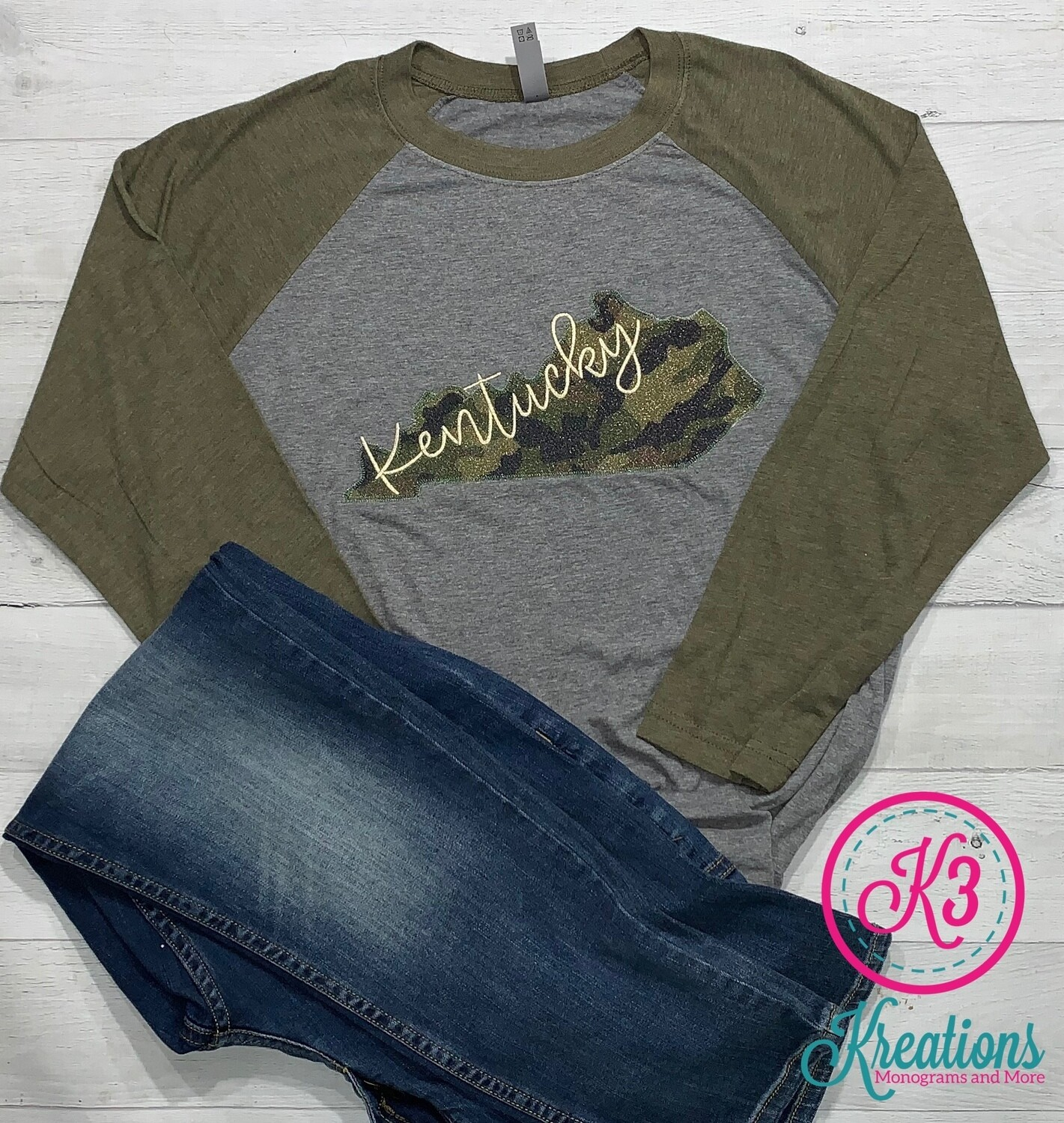 Kentucky State Sparkle Camouflage Baseball Jersey Tee