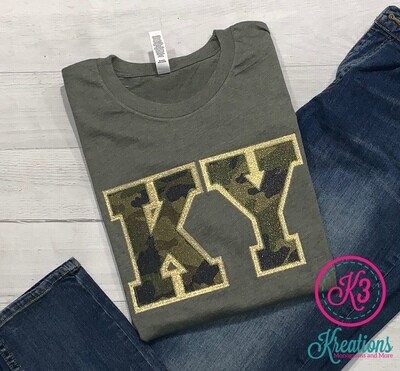 Sparkle Camouflage Double Layer KY Applique Short Sleeve Tee
