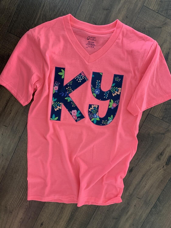 KY Floral V-Neck Neon Pink Short Sleeve  Tee