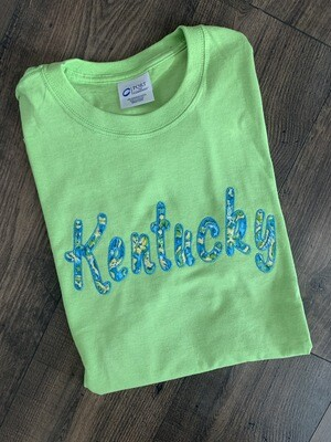 Kentucky Lime Green & Blue Short Sleeve Tee