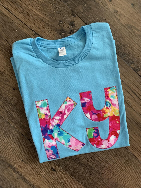 Ky Floral Watercolor Aqua Short Sleeve Tee
